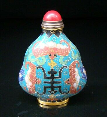 Collectibles 100% Handmade Painting Brass Cloisonne Enamel Snuff Bottles 083