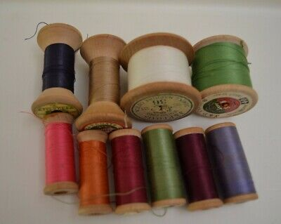 10 Vintage Wooden Cotton Reels J & P Coats Craft Sewing Display Photo Prop Rare