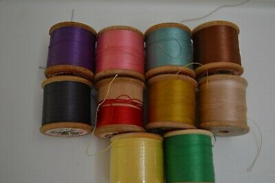 10 Vintage Wooden Cotton Reels Sylko Dewhurst's Craft Sewing Shop Photo Prop