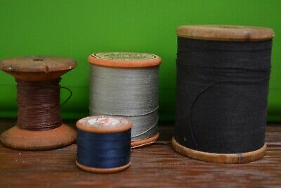 4 Vintage Wooden Cotton Reels Rare Craft Sewing Retro Shop Display Photo Prop