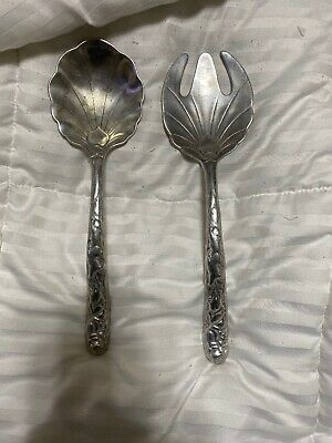 11 Inch Pewter Salad Fork And Spoon