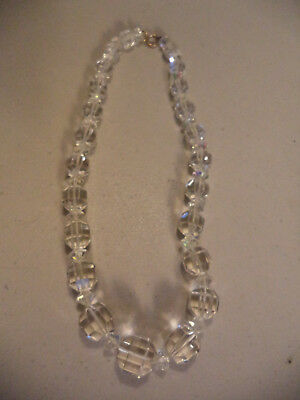 Bold Vintage Art Deco Large Faceted Bead Beaded Crystal Glass Costume Necklace!