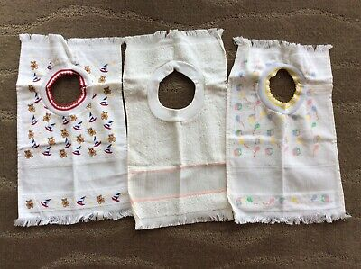 Vintage Lot Of 3 Baby Bibs To Cross Stitch With Border