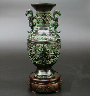 Chinese tiger dominant artistic vase antique ancient style bronze hand crafted
