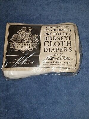 Mother Earth's Pre Folded Birdseye Cloth Diapers One Dozen Natural Cotton New