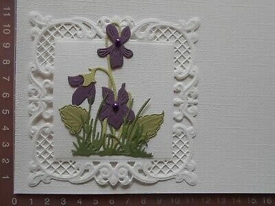 Die cuts - Embossed Violets - Assembled + Backing  Mat  Card Toppers Mats (A)