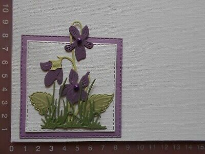 Die cuts - Embossed Violets - Assembled + Backing  Mat  Card Toppers Mats (D)