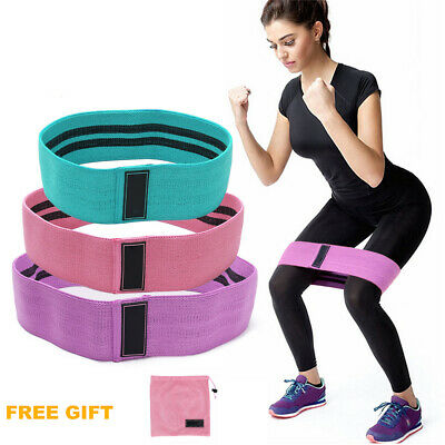 UK Women EVO Fabric Resistance Bands Butt Exercise Loop Circles Set Legs Glutes