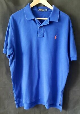 Polo Ralph Lauren Mesh Shirt Men's XL Royal Blue w/Orange Pony Classic  * EUC