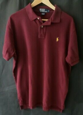 Mens RALPH LAUREN SS COTTON POLO * LARGE Burgundy W/Yellow Pony Stretch Mesh EUC