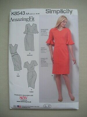 NEW Simplicity Sewing Pattern 8543 - Womens Misses Dress - Sizes 10-18