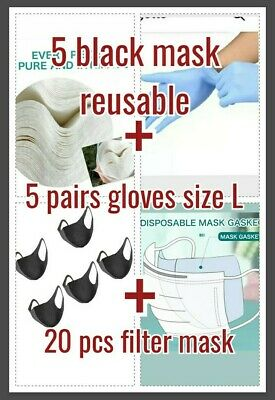 Boundle 5 reusableMask 20 Filter 5 pairs Gloves size L free shipping royal mail