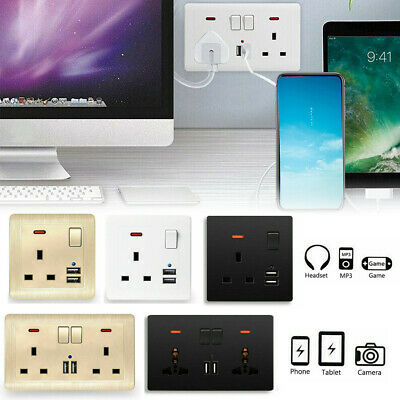 Double Wall Plug Socket 2 Gang 13A with 2 USB Charger Port Outlets White Plate