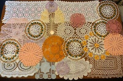 Bulk Lot Of 24 Vintage Table Linen Napery Doyley Doilies Coloured Crochet