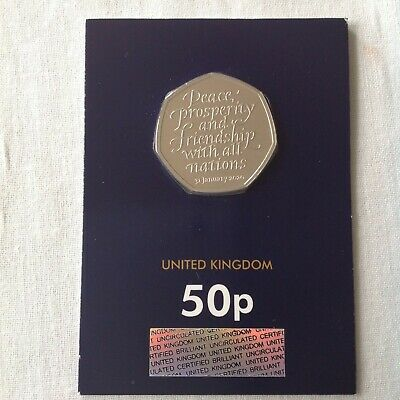 2020 UK EU exit, Mint sealed Uncirculated, Brexit 50p coin.Change checker card