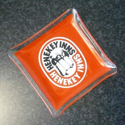 Collectable Vintage British Bar Advertising Henekey Inns Glass Dish