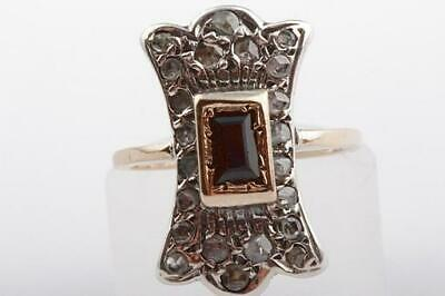 Saphir Ring antik Biedermeier mit Saphiren und Diamanten in 333 Bicolor Gold -