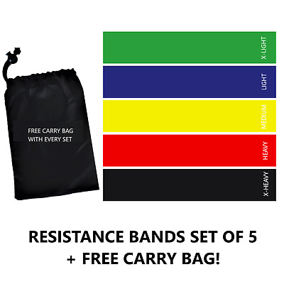 Resistance Bands Set of 5 - Exercise Glutes Yoga Pilates Home Gym Workout