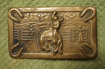 Vintage Copper Toned Belt Buckle with Western Scene, Bronc Riding