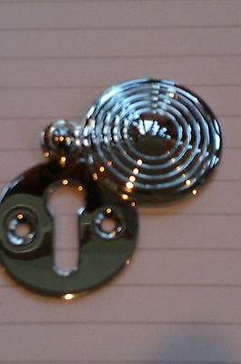 Polished Chrome Reeded Covered Escutcheon Key Hole Cover