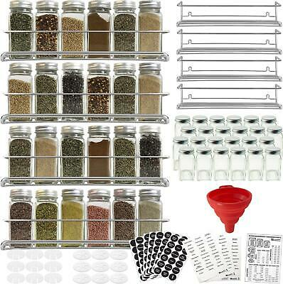 24 Spice Jar Labels with Precut Spice Names in White Stencil Type on Black Vinyl