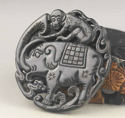 Old Chinese natural jade hand-carved elephant and monkey pendant