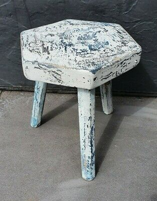 Rustic Vintage Chippy Painted 3 Leg Wooden Stool Plant Stand Brocante Hand Made