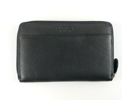 Osprey Black Leather Zip Around Purse 17cm X 11cm New