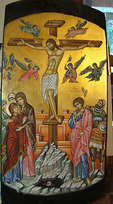 Crucifixion.Greek Orthodox portable hand-painted byzantine icons