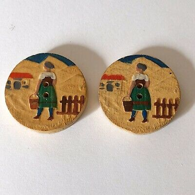 Vintage Pair Of Hand Carved & Painted Wooden Buttons of Alpine Girls Scene