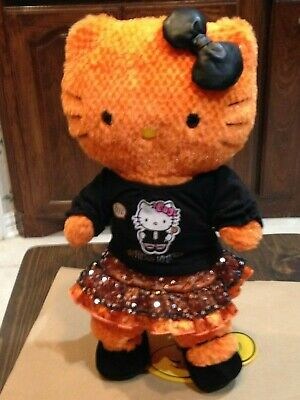 Build A Bear Orange Halloween Hello Kitty Wearing A Halloween Outfit and Shoes