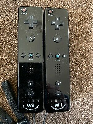 2 X Nintendo Wii Official wii motion plus Controllers Black