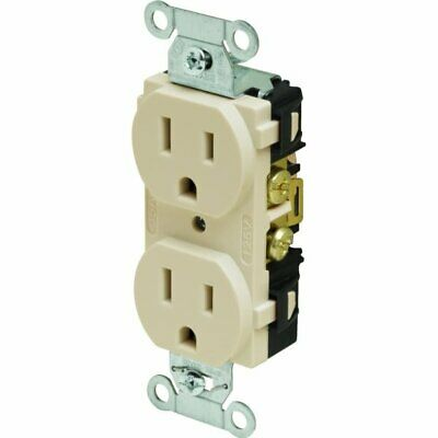 Hubbell Commercial Grade Duplex Straight Blade Receptacle, 125 VAC, 15 A, Ivory