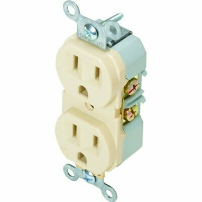 15 Amp Commercial Duplex Receptacle Back & Side Wired Ivory Package of 10