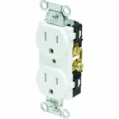 Hubbell Commercial Grade Duplex Straight Blade Receptacle, 125 VAC, 15 A, White
