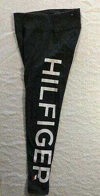 Tommy Hilfiger S Athletic Leggings Pants Gray White Side Logo Spell Out Stretch