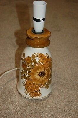 Vintage Jersey Pottery bedside/table lamp, early hand-painted floral design