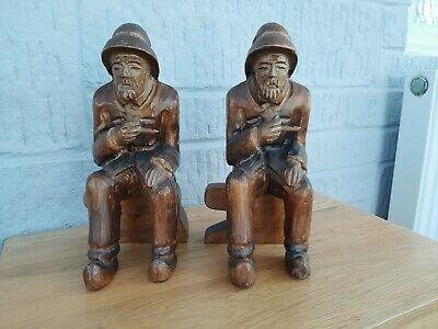 German? Pair Black  Forest? Wooden Carved Working Man. Anvil Shaped Seat 25.5Cm