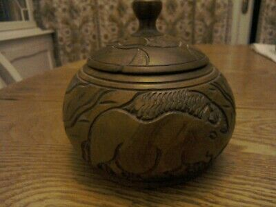 Lovely Antique / Vintage hand carved hard wood pot