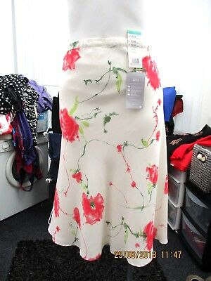 Ladies BNWT Marks & Spencers Cream Floral Summer Maternity Skirt (size 12-14)