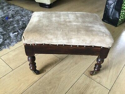 Beautiful Vintage antique Wooden Foot Stool  With brass caster nice turned leg