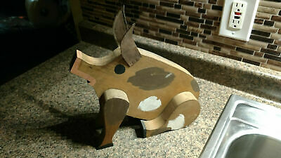 Vintage Wooden Pig Farmhouse Hand Made Wood Scupture Copper Ears Boar Figurine