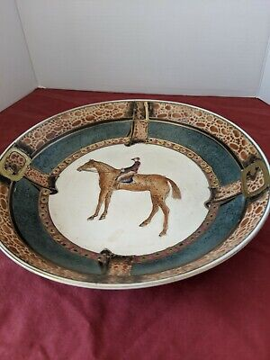 """Race Horse Rider Hand Painted Decorative Plate Oklahoma Importing Co. 7-3/8"""""""
