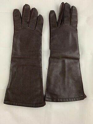 Leather Long Women's Winter Gloves Brown - Small Size 7