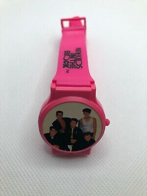 1990 New Kids on the Block~Quartz Wrist Watch~Picture Opens~Hot Pink Nelsonic