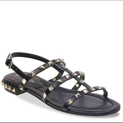 Marc Fisher Parli Black Silver Studs Sandals 7.5 may fit 8 Faux Leather NWT NEW