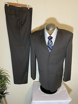 Pronto Uomo Mens 2 Piece Brown Suit 42L Jacket Pants Altered to 34x33 Wool