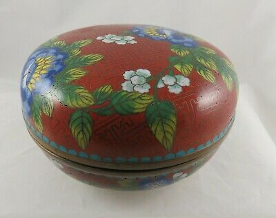 Antique Round Cloisonne Covered  Floral  Box China