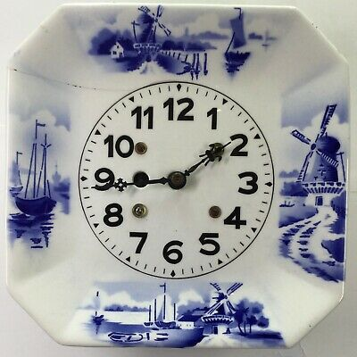 Delft Plate Clock With Wooden Stand Made in Germany