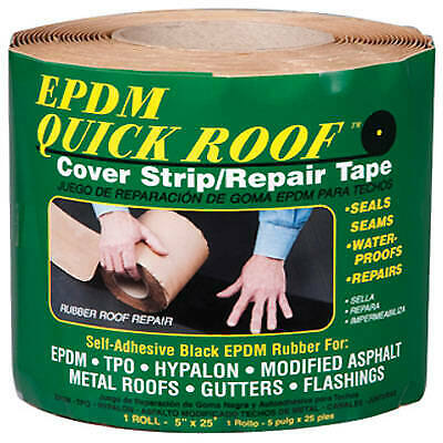 EPDM Roof Cover Strip, Self-Adhesive, Black EPDM, 5-In. x 25-Ft.